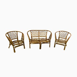 Vintage Italian Wicker Seating Group, 1950s