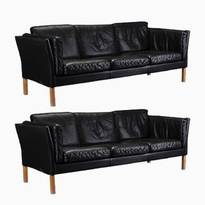 Vintage Danish Black Leather Sofas, Set of 2