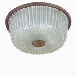 Italienische Vintage Deckenlampe mit Geriffeltem Glas, 1950er