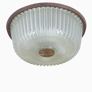 Vintage Italian Ceiling Lamp with Molded Glass, 1950s