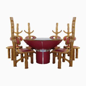 Vintage Brazilian Dining Table With 6 Chairs