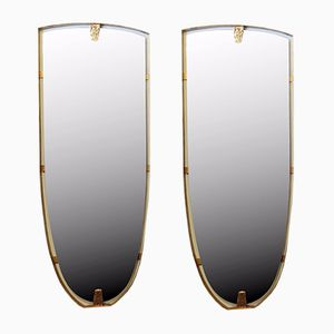 Large Vintage Brass Mirrors, Set of 2