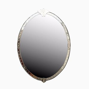 Very Large Oval Shaped Venetian Mirror