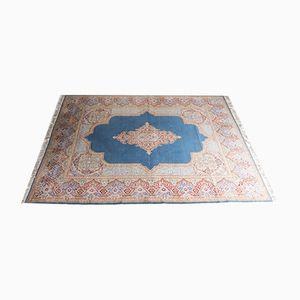 Großer Persischer Vintage Teppich in Blau, Rot, Rosa und Beige