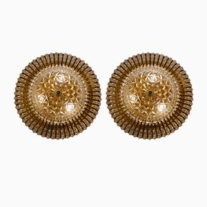 Mid-Century Brass Glass & Lucite Bead Lights from Hillebrand, 1960s, Set of 2