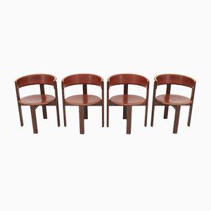 Chaises de Salon Vintage en Cuir & Noyer par Cassina, Italie, 1970s, Set de 4