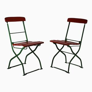 Vintage French Folding Garden Chairs, 1930s, Set of 2