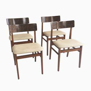Vintage Teak & Vinyl Dining Chairs, Set of 4