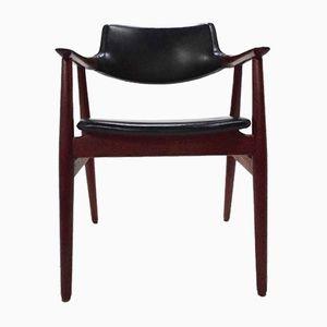Danish Teak & Black Vinyl Desk Chair by Erik Kirkegaard for Glostrup Mobelfabrik
