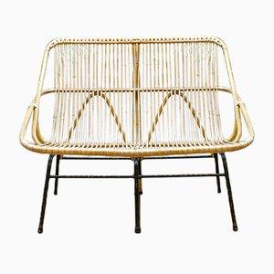 Vintage Rattan Sitzbank von Rohé Noordwolde, 1960er
