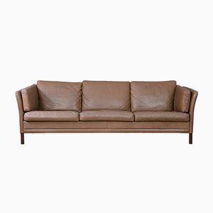Dänisches Braunes Vintage Drei-Sitzer Sofa