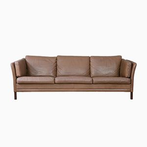 Vintage Danish Brown 3-Seater Sofa
