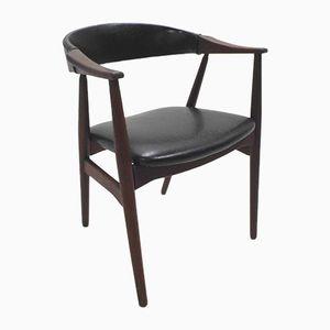 Danish Teak & Black Vinyl Desk Chair by Erik Kirkegaard for Farstrup Møbler, 1960s