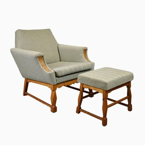 Mid-Century Danish Armchair and Footstool