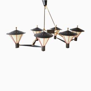 Große Deckenlampe mit Sechs Leuchten von Arlus, 1950er