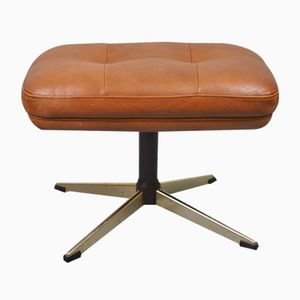 Mid-Century Danish Tan Leather Footstool, 1960s