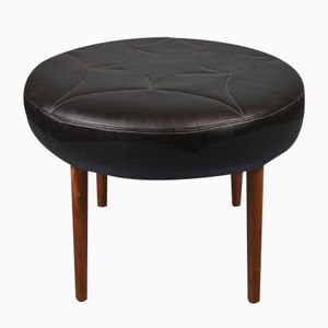 Danish Mid-Century Cicular Black Leather Footstool, 1960s