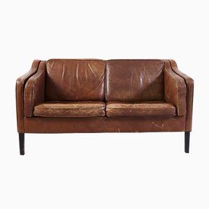 Vintage Zwei- Sitzer Büffelleder Sofa