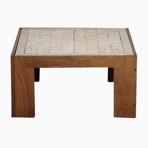 Tavolini in palissandro con ripiano in travertino di Tobia Scarpa, set di 2