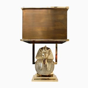 Tutankhamun Brass Table Lamp, 1970s