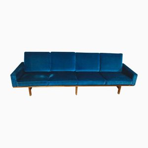 Vintage Blue 4-Seater GE 236/4 Sofa by Hans J. Wegner for Getama