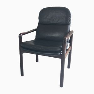 Mid-Century Danish Leather Chair with a Lacquered Rosewood Frame from Dyrlund