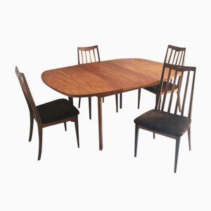 Ausziehbarer Mid-Century Tisch mit Vier Stühlen von G Plan, 1970er