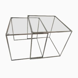 Mid-Century Minimalist Chrome & Glass Nesting Tables, 1960s, Set of 2