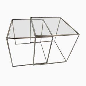 Minimalistische Mid-Century Chrom & Glas Satztische, 1960er, 2er Set