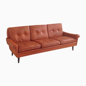 Dänisches Mid-Century 3-Sitzer Sofa und Drehsessel von Skipper, 1970er, 2er Set