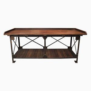 Industrieller Vintage Werktisch aus Mahagoni & Eisen