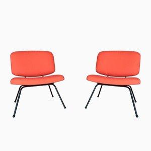 Pfirsichfarbene Mid-Century Stühle von Pierre Paulin für Thonet, 1956, 2er Set