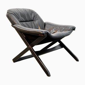 Swedish Black Arm Chair by Göte Möbel, 1980s