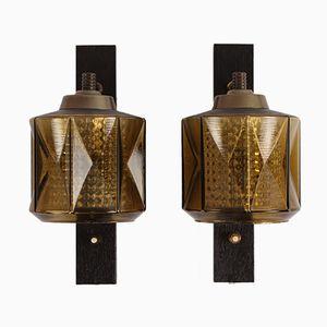 Schwedische Glas Wandlampen von Carl Fagerlund für Orrefors, 1960er, 2er Set