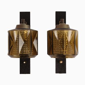 Swedish Glass Wall Lamps by Carl Fagerlund for Orrefors, 1960s, Set of 2