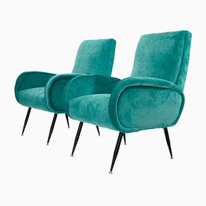 Italian Mid-Century Blue Velvet Armchairs, 1950s, Set of 2
