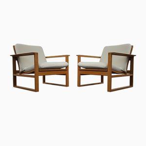 Vintage 2256 Eichenholz Armlehnstühle von Børge Mogensen für Fredericia Stolefabrik, 2er Set