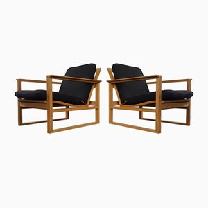Mid-Century 2256 Oak Lounge Sled Chairs by Børge Mogensen for Fredericia Stolefabrik, Set of 2