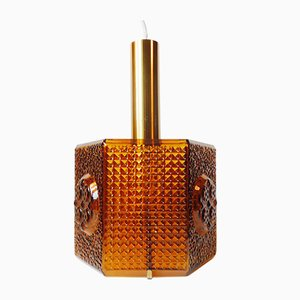 Vintage Hexogonal Amber Glass Pendant Lamp by Carl Fagerlund for Orrefors, 1960s
