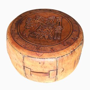 Ottomana vintage di pelle