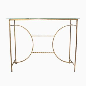 Gilt Metal & Glass Console Table, 1950s