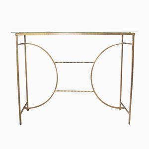 Konsolentisch aus Vergoldetem Metall & Glas, 1950er