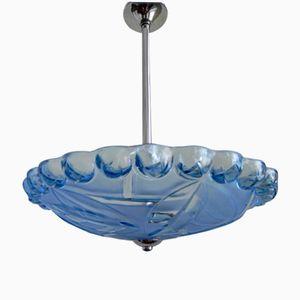 Art Deco Blue Glass Pendant Lamp