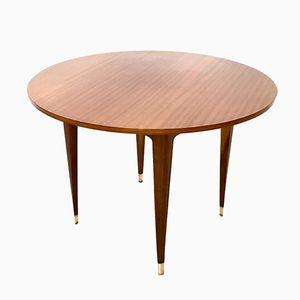 Mid-Century Italian Mahogany Round Table, 1950s