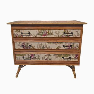 Vintage Commode with Rattan and Toile de Jouy Wallpaper