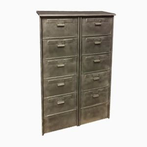 Vintage Industrial Gray Cabinet with 10 Drawers