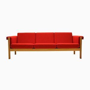 Mid-Century GE40 Eichenholz 3-Sitzer Sofa von Hans J. Wegner für Getama