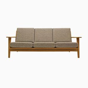 GE290/3 Eichenholz Drei-Sitzer Sofa mit Kvadrat Bezug von Hans J. Wegner für Getama