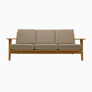 GE290/3 Oak and Kvadrat Fabric 3-Seater Couch by Hans J. Wegner for Getama