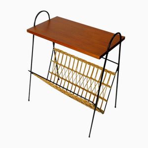 Mid-Century Teak and Rattan Magazine Rack, 1970s